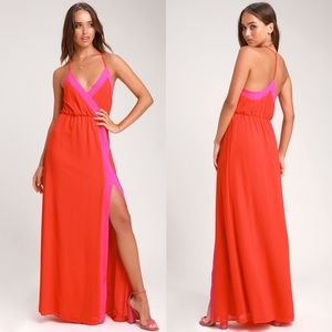Lulu's Dresses - Coral and Pink Colorblock Maxi